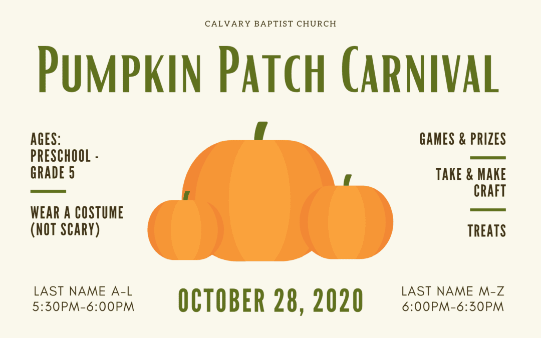 Pumpkin Patch Carnival 10/28/20