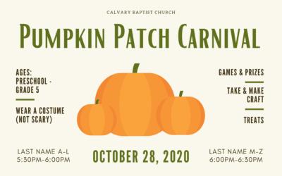 Pumpkin Patch Carnival 10/28/20