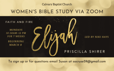 Women's Monday Bible Study – Elijah, March 8, 2021