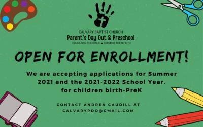 Calvary Parent's Day Out Program Registration