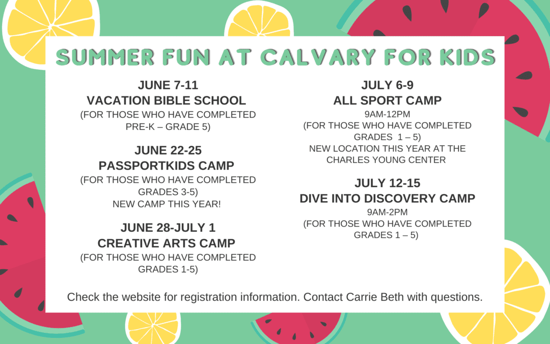 Summer Fun for Kids at Calvary