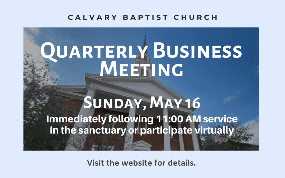Quarterly Business Meeting 2/21/21